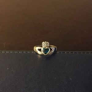 Silver Claddagh Ring with Turquoise Colored Heart